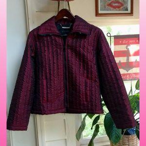 EXPRESS Women Satin QUILTED Burgundy Zip Jacket